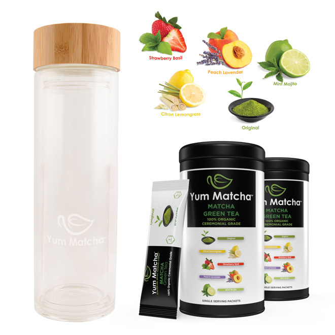 Double Wall Glass Tumbler with Stainless Steel Infuser and 2-Tin Can Gift Set